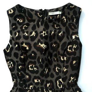 Sleeveless Leopard Print Mini Dress W/ Pleats